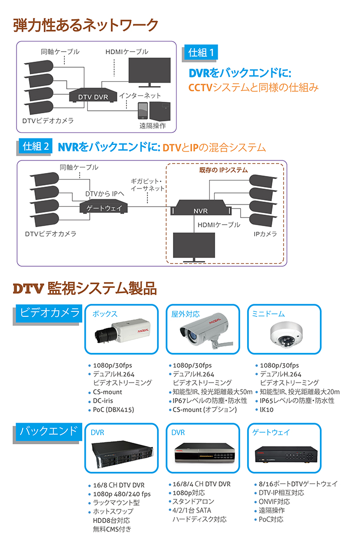 DTV surveillance's structure and Pacidal's DTV product line